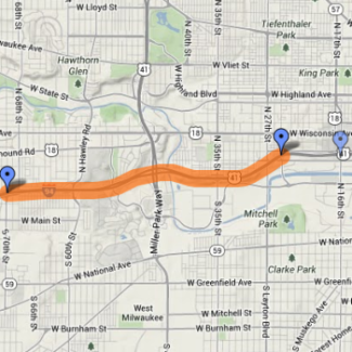 Furthermost right marker represents the new proposed eastern edge of the I-94 project.