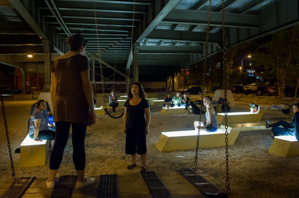 "The action of ""The Penelopiad,"" a retelling of Homer's ""Odyssey"" from an all-female perspective, takes place in the underworld-esque park under the Holton Street Bridge."