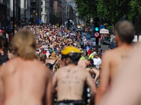 World Naked Bike Ride 2009 - London. Photo by flickr user carlosofpardo.