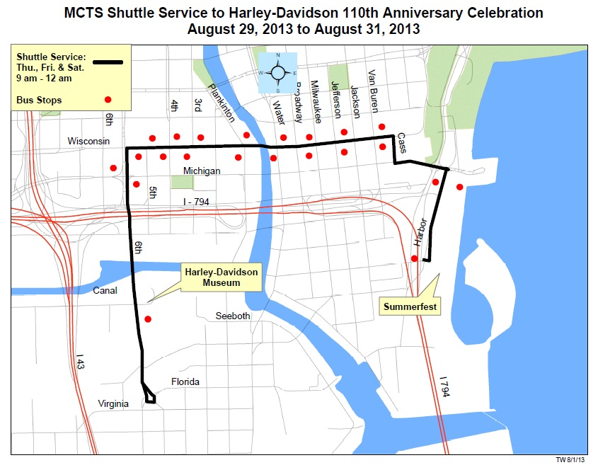 Ride The Downtown Shuttle To HarleyDavidsons Th Urban Milwaukee - Summerfest grounds map