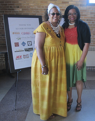 Denise Wooten (left) and Auriea Mosley were honored for their work with 14th Street Cares Block Watch in the Borchert Field neighborhood. (Photo by Edgar Mendez)