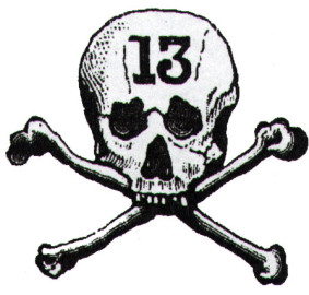 "The logo of the ""13"" a 19th century Milwaukee bicycle club. Image from Wheel Fever."