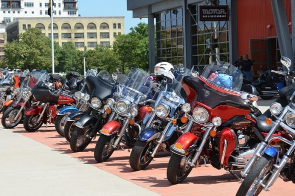 Motorcyclists park at the Motor Bar and Restaurant at 401 W. Canal St. (Photo by Sue Vliet)