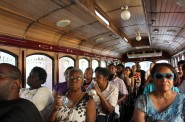 The trolley bus was full during the afternoon tour of Bronzeville. (Photo by Mark Doremus)