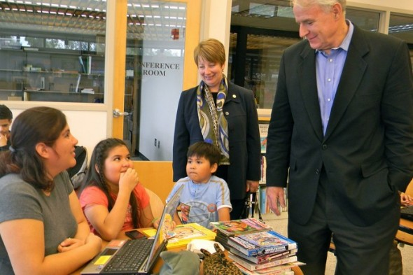 Library Director Paula Kiely and Mayor Tom Barrett visited Forest Home Library to announce plans for the branch. (Photo by Maria Corpus)