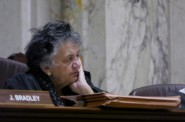 Chief Justice Shirley Abrahamson, shown here at a March 13, 2013, oral argument, took in the vast majority of donations from attorneys whose cases came before the Wisconsin Supreme Court over the past 11 years. Jake Harper/Wisconsin Center for Investigative Journalism