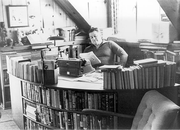 August Derleth, seen here at his desk, was the guiding force behind Arkham House, the small publisher that offered a place for weird fiction writers to publish their work.