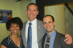 State Sens. Nikiya Harris [l] and Chris Larson [m], and Jonathan Brostoff [r].