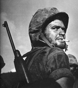 The Greek face of the US Marine Corps: Sgt Angelo Spiros Klonis during the Battle of Saipan. One of the iconic images of WWII by famed photographer W. Eugene Smith, it was a LIFE magazine cover and, in 2002, a US postal stamp.