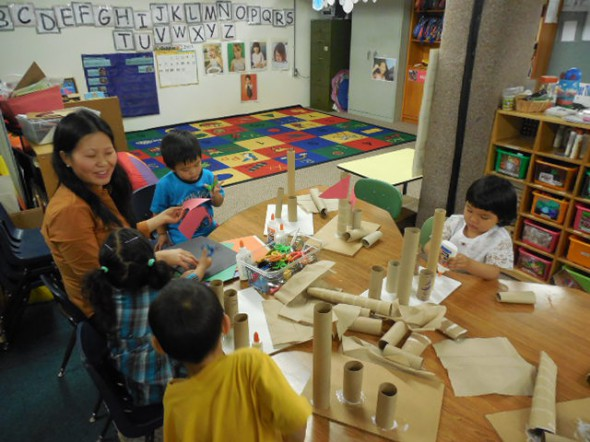 Daily art projects help the ILC preschool students develop their social-emotional and cognitive skills. (Photo by Maria Corpus)