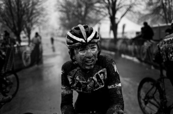 This photograph from book Endure shows a racer who is honestly cold, wet, and exhausted, but unlike in racing, real human suffering doesn't end after a bell lap. It remains a compelling image, but I this decisive moment in racing doesn't compare to the human suffering photographer Darren Hauck sees in the Third World countries he works in.