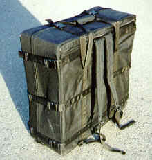 S&S backpack travel case is 26x26x10, but draws unwanted attention at the airport.