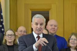 Minnesota Gov. Mark Dayton at a bill signing ceremony authorizing the MNsure insurance exchange. James Nord/MinnPost
