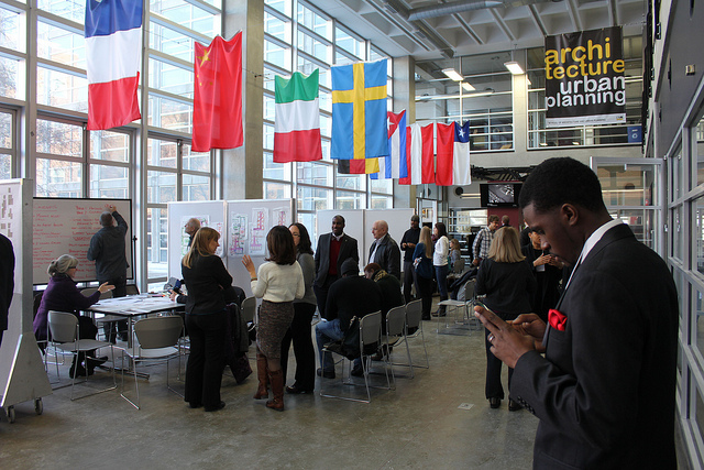Architects, developers and others gathered at the University of Wisconsin-Milwaukee to discuss the future of the Bronzeville redevelopment district. (Photo by Mark Doremus)