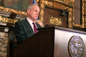 Minnesota Gov. Mark Dayton embraced health care reform quickly after taking office in January 2011. Briana Bierschbach/MinnPost