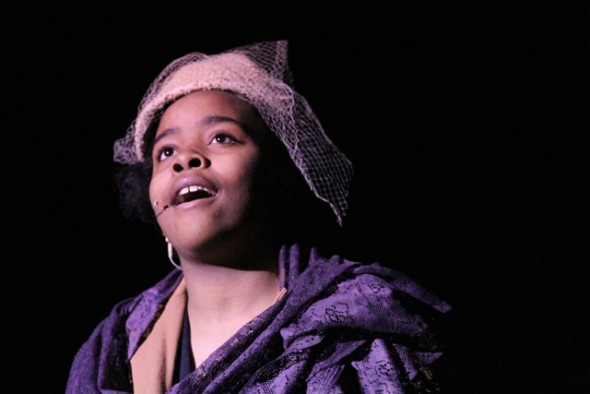 """MPS MHSA student and national YoungArts Merit Award winner Shampriel Morrise, seen performing in MHSA's production of """"Blues In The Night"""""""