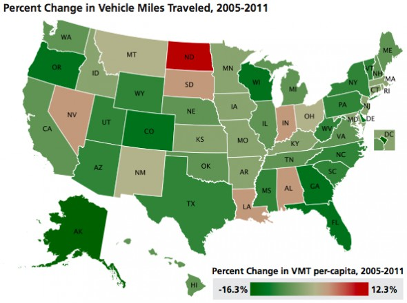 "This map shows some of the states least effected by the economic slowdown still showed big declines in driving. ""Moving Off the Road A State-by-State Analysis of the National Decline in Driving,"" by U.S. PIRG Education Fund"