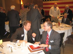 Marcus Center director Paul Mathews chats with Public Policy Forum's Rob Henken at the Rotary Club luncheon, Tuesday, January 14th 2014