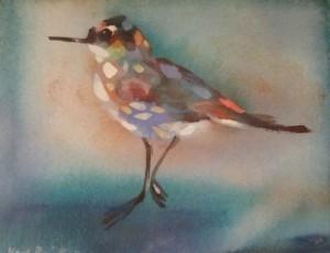 Karl Priebe, Untitled (Blue Speckled Shorebird), c. 1970. Courtesy Charles Allis Art Museum / Museum of Wisconsin Art.