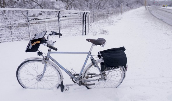 The snow is so deep on the unplowed sections of the Hank Aaron State Trail that my heavy commuter bike can stand up without the kickstand down.