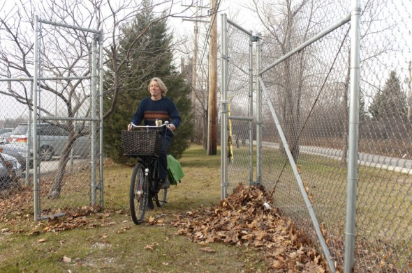 The first week of December last year: Me and Oma riding through the gate from the Hank Aaron State Trail to the winter farmers market at the Tommy Thompson Center at State Fair Park.