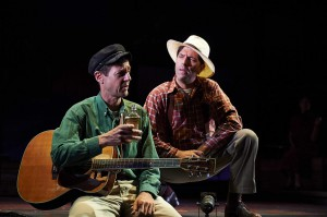 From left: David M. Lutken and David Finch in Woody Sez: The Life & Music of Woody Guthrie. Photo by Roger Mastroianni.