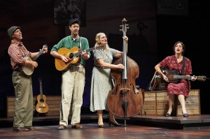 From left: David Finch, David M. Lutken, Helen Jean Russell and Leenya Rideout in Woody Sez: The Life & Music of Woody Guthrie. Photo by Roger Mastroianni.