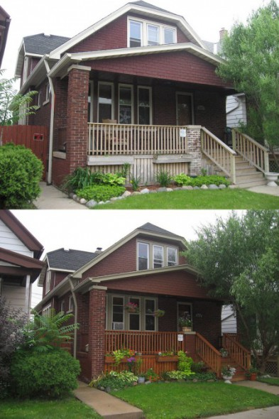 Melinda Rodriguez's bungalow before and after home improvements. (Photo courtesy of LBWN)