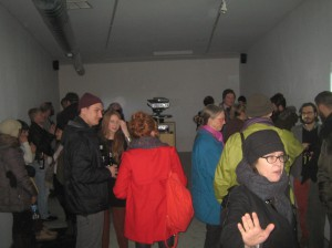 The projector takes center stage at the Green Gallery East for the Gavin Brown installation. Photo by Michael Horne.
