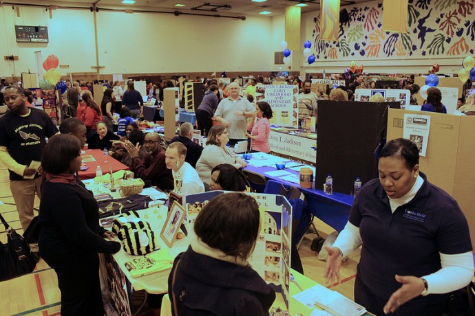 Parents and children came to Milwaukee Public Schools' All-School Enrollment Fair to learn about school choices. (Photo by Mark Doremus)