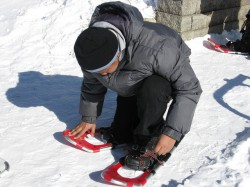 Roosevelt Middle School students spend a day snowshoeing at the Rotary Centennial Arboretum. (Photo by Kelly Meyerhofer)