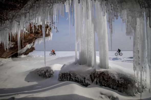 Nick Ginster and I roll the Superior shoreline past Julian Kegel as he photographed us while tucked away in a cave.