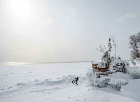 You can see open water in the distance off the coast of Big Bay State Park, so be sure to check the ice before you explore the shoreline. Nick Ginster of Fyxation proving he has the wheelie gene.