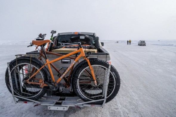 Our fatbikes traveled in style the entire weekend courtesy a sweet fatbike ready rack from 1UpUSA, a Platteville based manufacturer. The 1UpUSA rack is made entirely of anodized CNC'd aluminum and is an engineering marvel. Loading fat-tired bikes is super quick, the bikes stay put once you lock them into the trays and it is easy to tilt them out of the way to open the rear gate. The racks cost only slightly more than similar models from other more well known manufacturers, but they scream made in the USA quality. Photo by Julian Kegel.