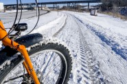 Not bare pavement, but thanks to the City of Milwaukee, you can ride the Hank Aaron State Trail again on a mountain bike or fatbike. It is a big improvement over last year.
