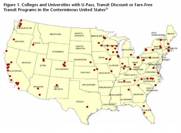 104 colleges and universities around the United States provide free or reduced-price transit service to students. Map: U.S. PIRG