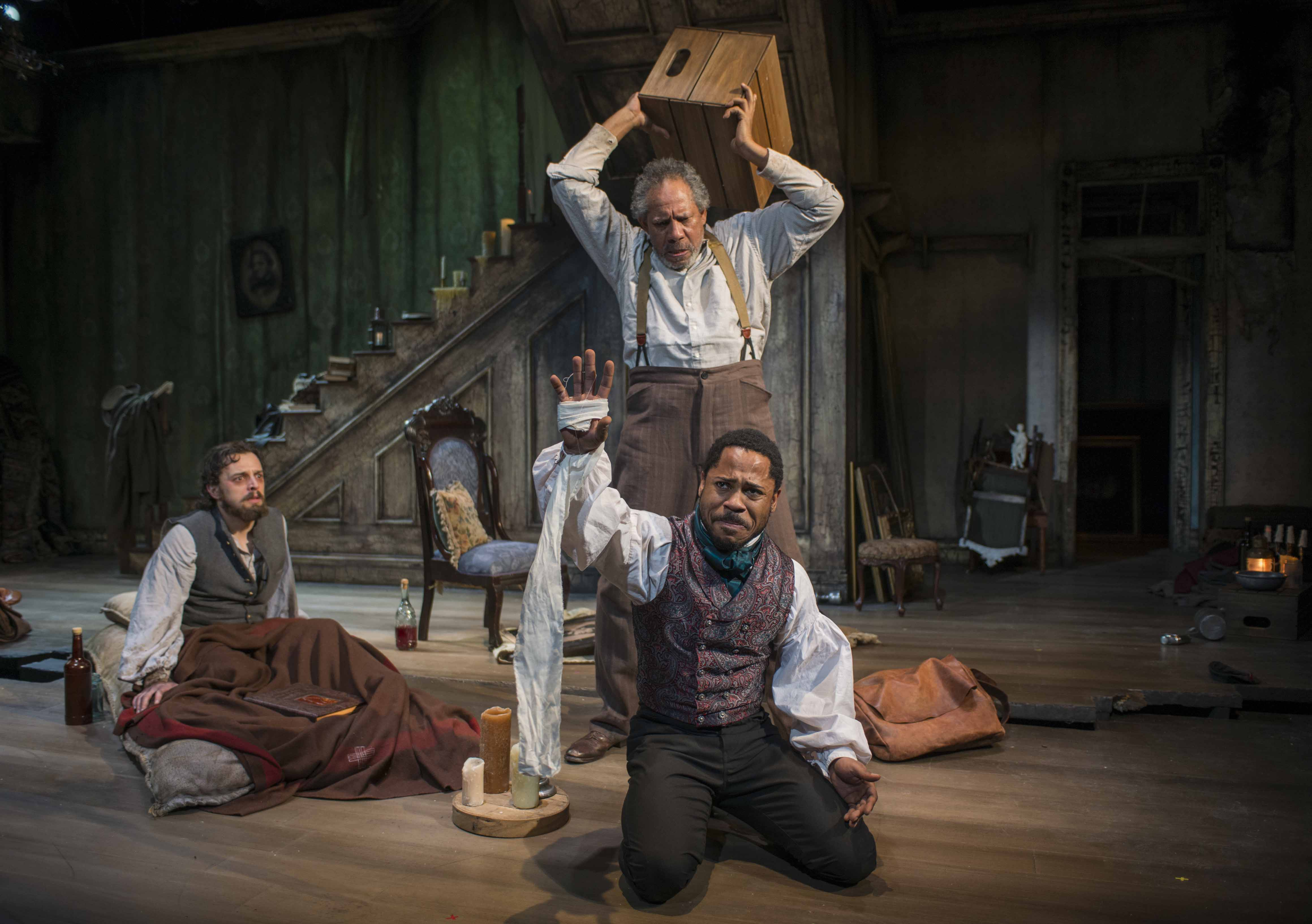 (L – R) Josh Landay, James Craven (standing) and Ro Boddie in Milwaukee Repertory Theater's 2013/14 Stiemke Studio production of The Whipping Man. Photo by Michael Brosilow.