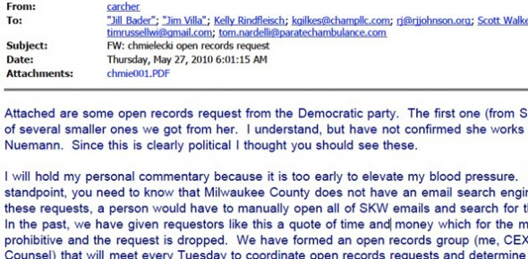 Screenshot of a 2010 email from Walker aide Cindy Archer to others in his inner circle.