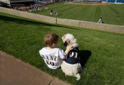 Hank with a fan in a custom Hank jersey. Photo from Milwaukee Brewers.