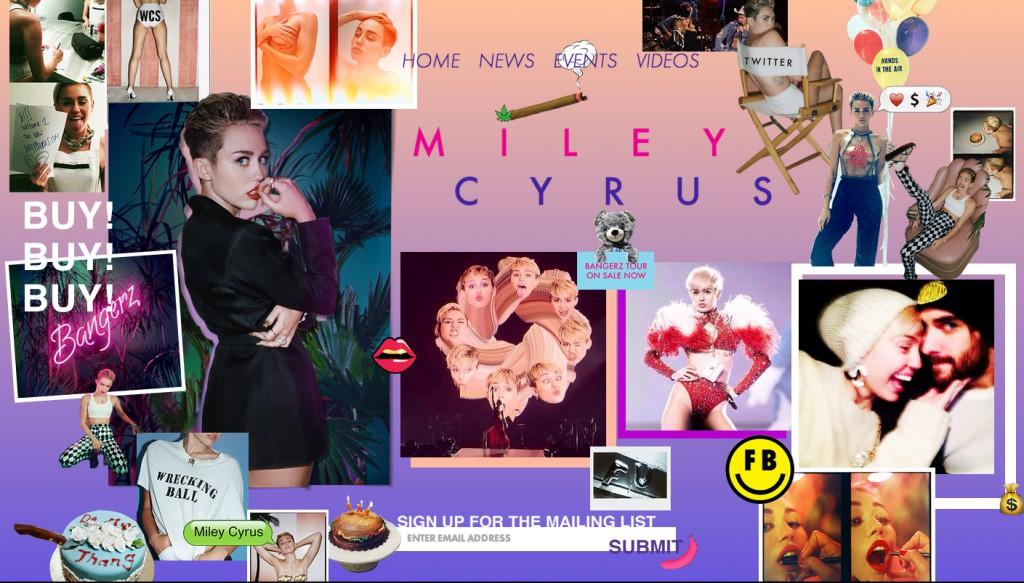 A screencap of Miley's website