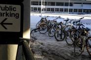 The bike racks were almost full when I pulled up this morning, but the parking is free if you pedal to Mitchell Field.