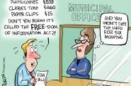 Cartoon by Don Landgren, Worcester Telegram & Gazette. Courtesy of Sunshine Week.