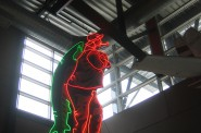 This neon sign once dominated the Post Washington lakefront above Smith Bros. Fish Shanty. It was installed Monday, March 31st, 2014 at the St. Paul Fish Company in the Milwaukee Public Market.