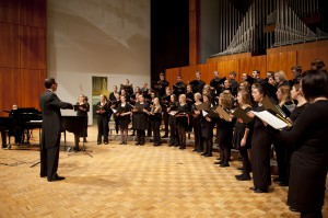 Carroll choirs with Houston. Photo courtesy of Carroll University.