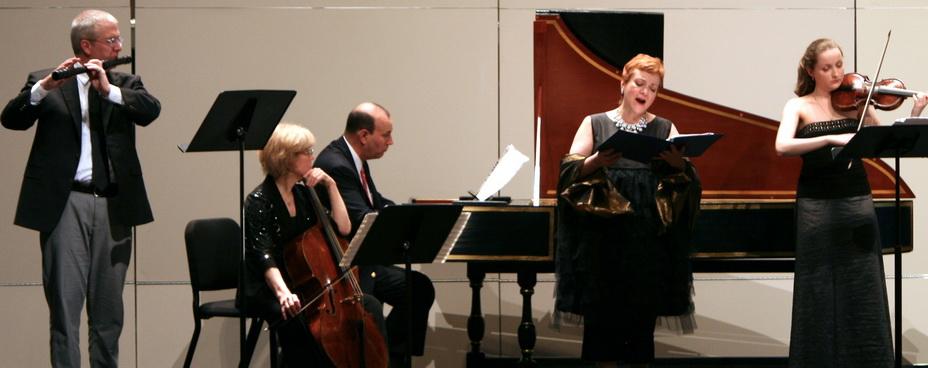 Left to right - Colin St. Martin, Loretta O'Sullivan, Andrew Appel, Dominique Labelle, Tatiana Chulochnikova. Photo by Rebecca J. Littman courtesy of Early Music Now.