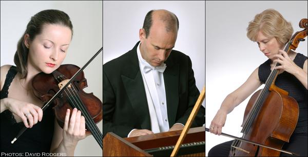 Left to right - Tatiana Chulochnikova, Andrew Appel, Loretta O'Sullivan. Photo by David Rogers courtesy of Early Music Now.