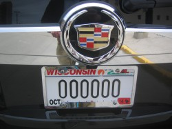 License plate 000000 is borne by a Milwaukee Bucks team vehicle parked outside the BMO Harris Bradley Center shortly before the team's sale was announced.