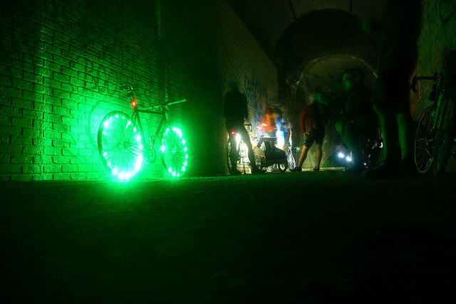 Riders taking a break in the Stewart Tunnel on the Badger State Trail just south of Belleville. Photo by Michael Lemberger.