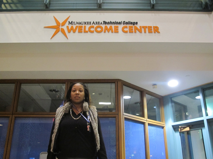 Dequana Bostick earned a competency-based high school diploma and is now studying nursing at Milwaukee Area Technical College after obtaining a useless certificate from Midwest Adult Academy. (Photo by Scottie Lee Meyers)