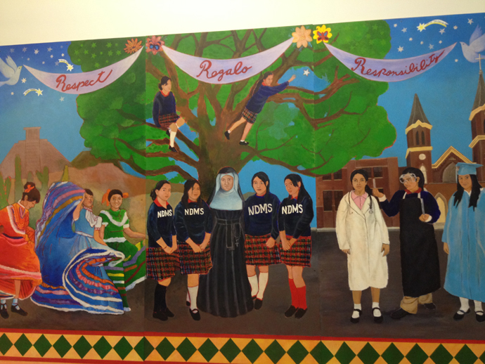 This mural was created by the NDMS class of 2008 upon their graduation. (Photo by Henry Greening)